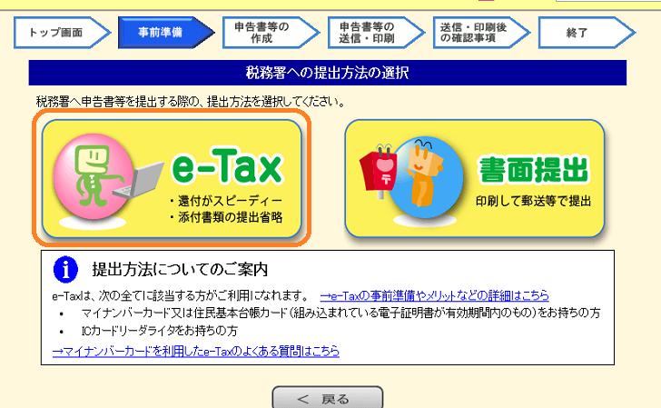 提出方法はe-Taxを選択する