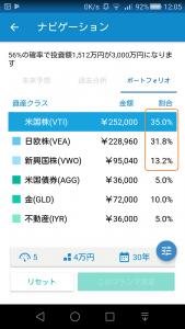 ウェルスナビの株式比率