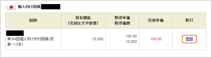 SBI証券 個人向け利付国債(変動・10年)の中途売却手順(3)