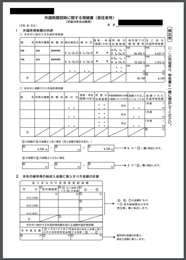 外国税額控除に関する明細書の書き方(3)