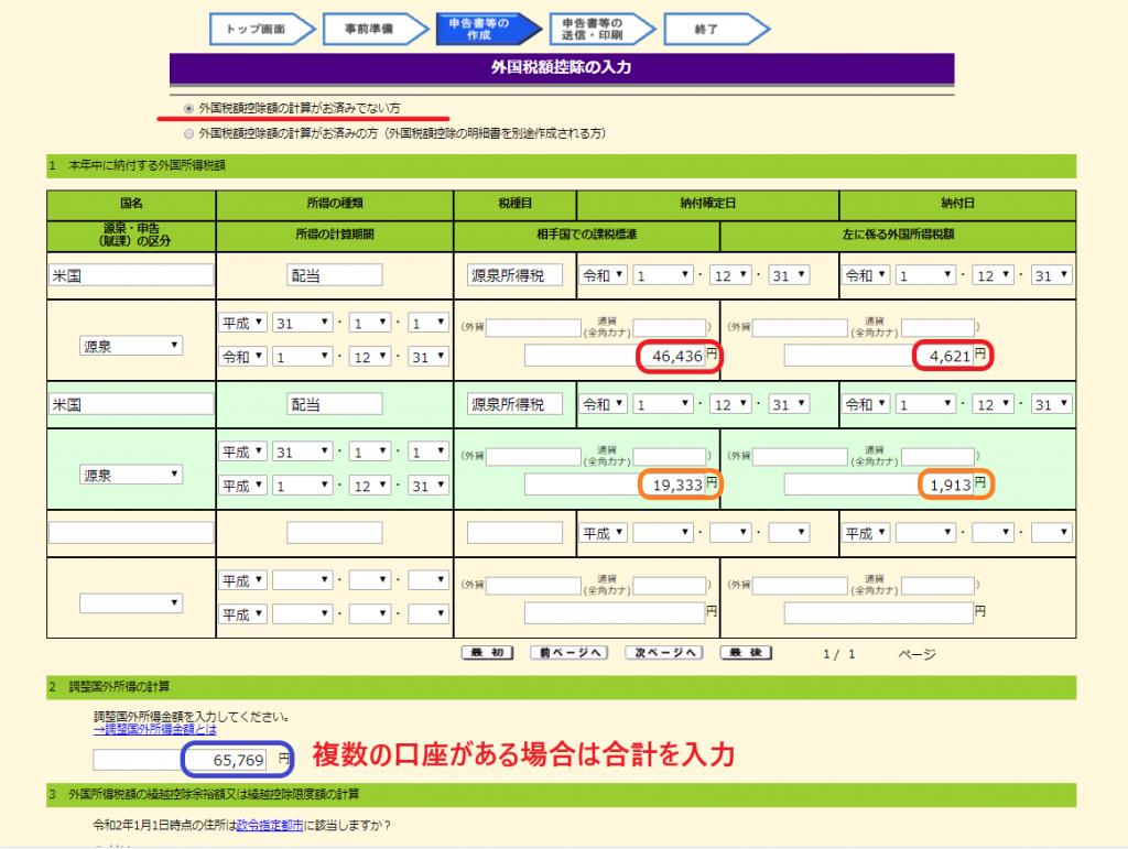 外国税額控除に関する明細書の書き方・作成(2)